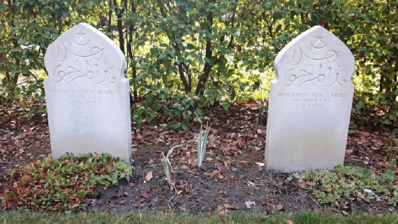 The graves of Mohamed Ben Hamou and Mohamed Ben Tahar in the Free French section of the Brookwood Military Cemetery.