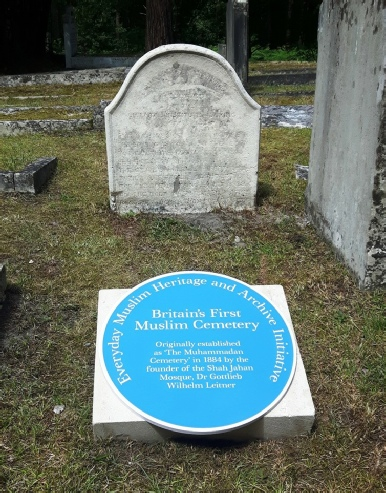 The blue plaque in the Muslim Cemetery at Brookwood