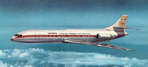 A Caravelle airliner of Iberia Airlines